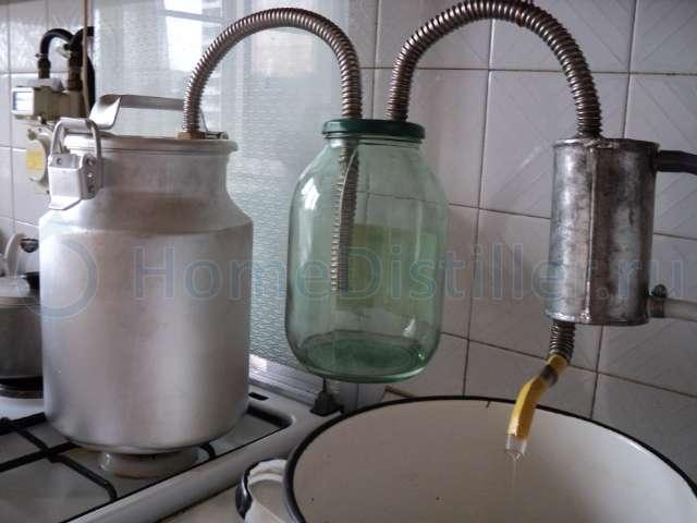 самогонный аппарат из бидона на газовой плите